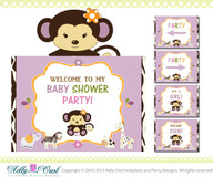CoCaLo Jacana Jungle Girl Baby Shower Welcome Sign with monkey, zebra, giraffe and hippo, door sign- ONLY digital file - you print a022