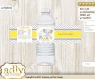 Grey Elephant Water Bottle Wrappers, Labels for a Elephant  Baby Shower, Yellow, Chevron