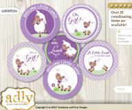 Baby Shower Girl Lambie Cupcake Toppers Printable File for Little Girl and Mommy-to-be, favor tags, circle toppers, Purple, Lime Green