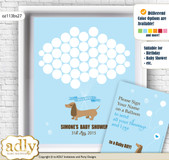 Boy Dog Guest Book Alternative for a Baby Shower, Creative Nursery Wall Art Gift, Sausage, Blue