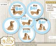 Baby Shower Boy Dog Cupcake Toppers Printable File for Little Boy and Mommy-to-be, favor tags, circle toppers, Blue, Sausage