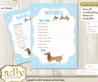 Boy Dog Wishes for a Baby, Well Wishes for a Little Dog Printable Card, Blue, Sausage
