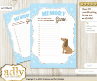 Boy Dog Memory Game Card for Baby Shower, Printable Guess Card, Sausage, Blue