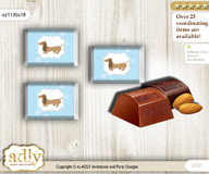 Boy Dog Chocolate Nuggets Candy Wrapper Label for Baby Boy Shower  Sausage , Blue