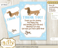 Boy  Dog Thank you Cards for a Baby Boy Shower or Birthday DIY Sausage, Blue