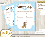 Boy Dog Guess Baby Food Game or Name That Baby Food Game for a Baby Shower, Sausage Blue
