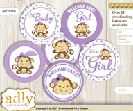 Baby Shower Girl Monkey Cupcake Toppers Printable File for Little Girl and Mommy-to-be, favor tags, circle toppers, Polka, Purple Grey
