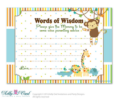 King Lion Boy Jungle Words of Wisdom, Advice Card for Baby ...