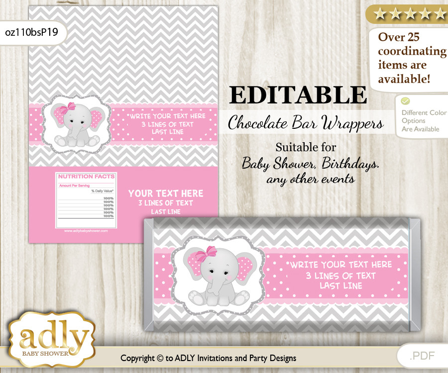 Personalizable Girl Elephant Chocolate Bar Candy Wrapper