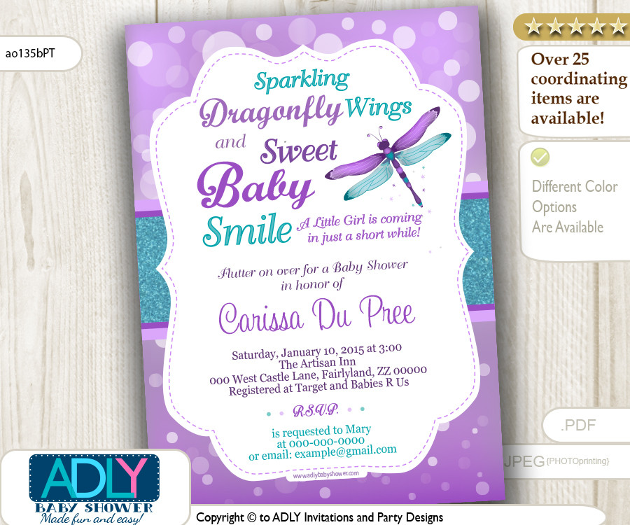 purple and teal dragonfly baby shower invitation turquoise lavender