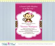 Hot Pink Girl Monkey Baby Shower Invitation Printable DIY card for girl in pink, brown,, polka dots - ONLY digital file  - Instant Download