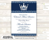 silver blue little prince royal baby shower invitation prince diy party invitation for boy