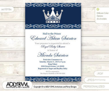 Silver Blue Little Prince Royal Baby Shower Invitation