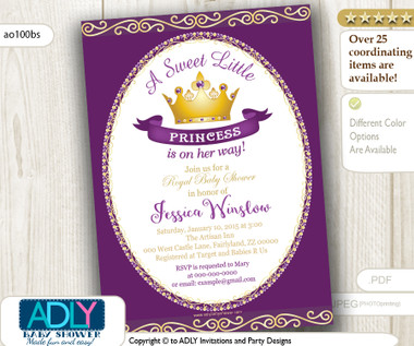 purple princess baby shower invitation for girl, pink, gold,golden, Baby shower invitations