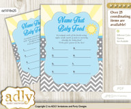 Boy Sunshine Guess Baby Food Game or Name That Baby Food Game for a Baby Shower, blue grey chevron