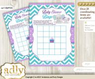 Printable Purple teal Elephant Bingo Game Printable Card for Baby Girl Shower DIY grey, Purple teal, Peanut