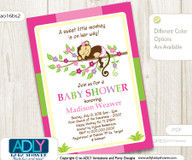 Hot Pink Green Girl Monkey Shower Printable DIY party invitation for girl baby shower, lime green - ONLY digital file - you prin- Instant Download