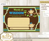 Green Blue Twins Monkey Words of Wisdom or an Advice Printable Card for Baby Shower, Boys