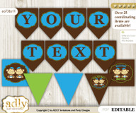Personalized Twins Monkey Printable Banner for Baby Shower, Green Blue, Boys