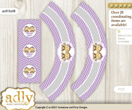 Printable Twins Monkey Cupcake, Muffins Wrappers plus Thank You tags for Baby Shower Lavender, Girls