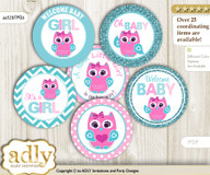 Baby Shower Girl Owl Cupcake Toppers Printable File for Little Girl and Mommy-to-be, favor tags, circle toppers, Teal, Pink