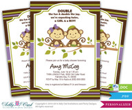 Monkey Twin Boy Girl Baby Shower Printable DIY invitation in lilac/purple, olive green, brown jungle color - Instant Download