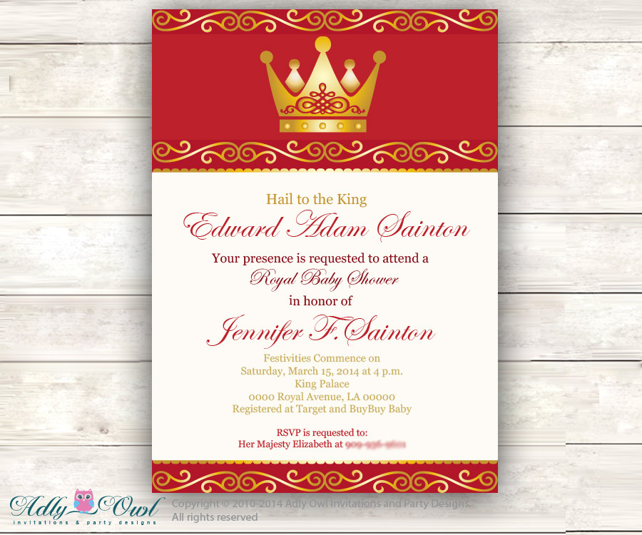 red gold prince baby shower invitation for boy king golden crown