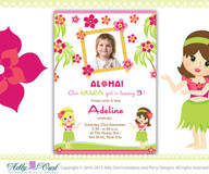 Personalized Hula Girl Baby Shower Printable DIY party invitation for beach party, aloha-