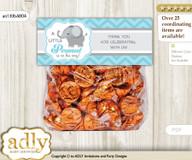 Printable Peanut Elephant Treat or Goodie bag Toppers for Baby Peanut Shower or Birthday DIY aqua grey, Chevron