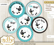 Baby Shower Boy Lamb Cupcake Toppers Printable File for Little Boy and Mommy-to-be, favor tags, circle toppers, Polka, Turquoise