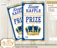King Prince Diaper Raffle Printable Tickets for Baby Shower, Blue Gold, Royal