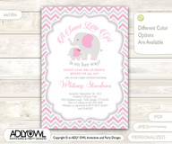 Grey Pink Elephant Baby Shower Invitation card, A sweet Little Girl is on her way, gray chevron, powder pink