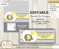 Personalizable Peanut Elephant Chocolate Bar Candy Wrapper Label for Peanut  baby shower, birthday Yellow Grey , Chevron