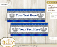 Printable Boy Crown Buffet Tags or Food Tent Labels  for a Baby Shower or Birthday , Silver Blue, Royal