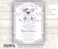 Purple Grey Koala Baby Shower Invitation card, A sweet Little Girl is on her way,gray purple, lilac printable invitation
