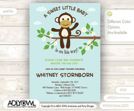 Mint Monkey Baby Shower Invitation card, Cute little monkey boy is on the way with blossom branch card for boy shower,jungle