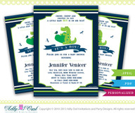 Boy Crocodile Alligator Baby Shower Invitation,Swamp boy baby shower with cute crocodile,bird,dragonfly - Instant Download
