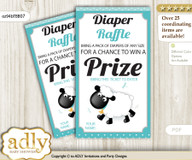 Boy Lamb Diaper Raffle Printable Tickets for Baby Shower, Turquoise, Polka
