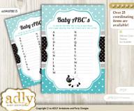 Boy Lamb Baby ABC's Game, guess Animals Printable Card for Baby Lamb Shower DIY – Polka