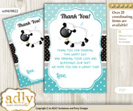 Boy  Lamb Thank you Cards for a Baby Boy Shower or Birthday DIY Turquoise, Polka