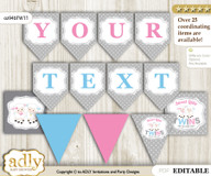 Personalized Twins Lamb Printable Banner for Baby Shower, Pink Blue, Polka