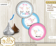 Printable  Twins Lamb Candy Kisses for Baby Twins Shower DIY Pink Blue , Polka