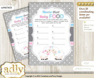 Twins Lamb Guess Baby Food Game or Name That Baby Food Game for a Baby Shower, Pink Blue Polka