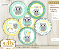 Baby Shower Neutral  Owl Cupcake Toppers Printable File for Little Neutral  and Mommy-to-be, favor tags, circle toppers, Chevron, Mint Yellow