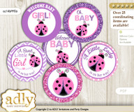Baby Shower Purple Ladybug Cupcake Toppers Printable File for Little Purple and Mommy-to-be, favor tags, circle toppers, Glitter, Pink Polka