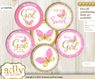 Baby Shower Girl Butterfly Cupcake Toppers Printable File for Little Girl and Mommy-to-be, favor tags, circle toppers, Bokeh, Pink Gold