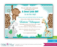 Boy Monkey Jungle Safari Invitation, Jungle Boy Baby Shower DIY Card in turquoise. Monkey in Jungle,palm, giraffe, elephant,printable