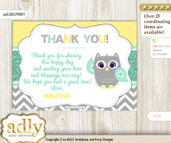 Neutral  Owl Thank you Printable Card with Name Personalization for Baby Shower or Birthday Party