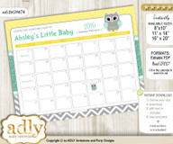Neutral  Owl Baby Due Date Calendar, guess baby arrival date game
