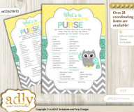 Neutral  Owl What is in Mommy's Purse, Baby Shower Purse Game Printable Card , Mint Yellow,  Chevron